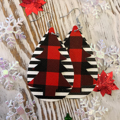 2 Layer Red Plaid Tree + Black White Stripe Holiday Leather Hang Earrings