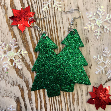 Green Glitter Christmas Tree Holiday Leather Hang Earrings