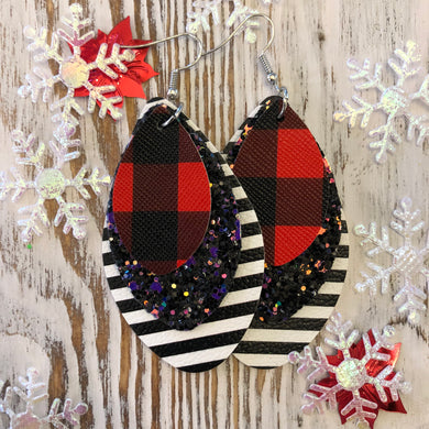 3 Glitter Red Plaid Stripe Holiday Leather Hang Earrings