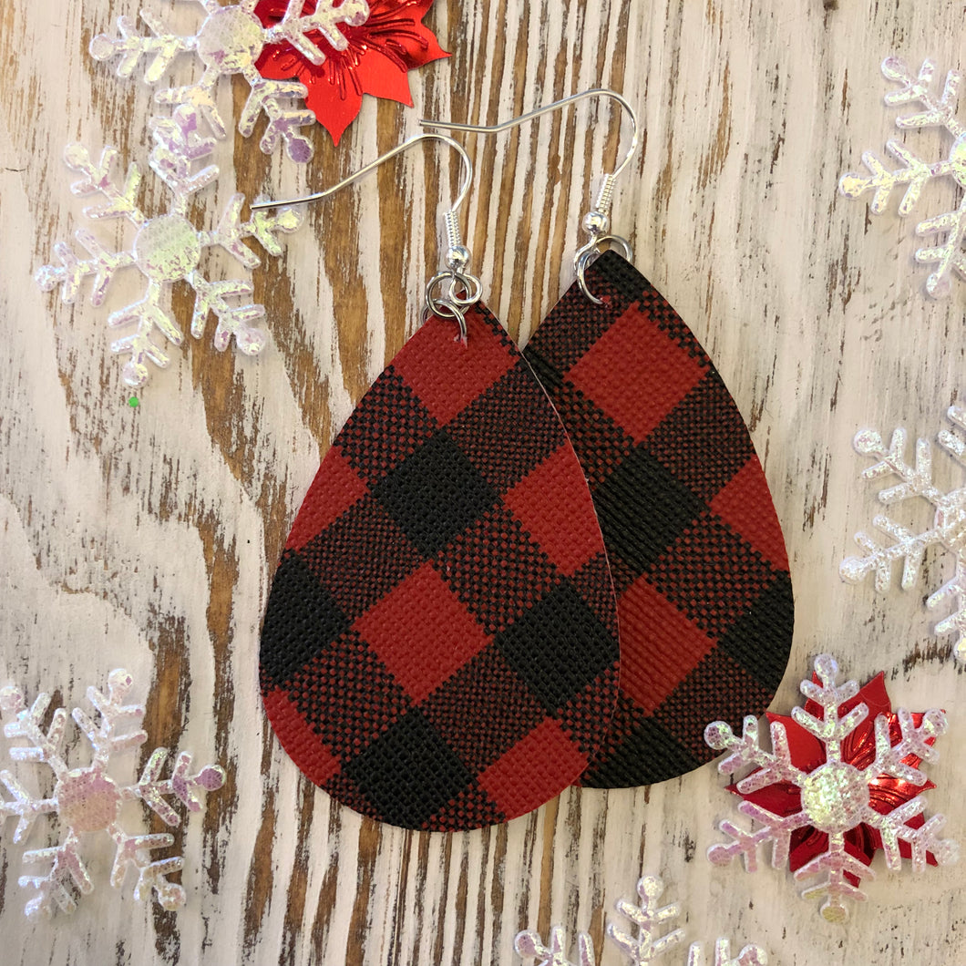 Red Plaid Buffalo Oval Hang Leather Hang Earrings
