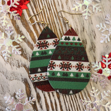 Red White Green Holiday Ornament Design Leather Hang Earrings