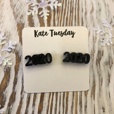 Black Glitter Sparkly 2020 New Year Acrylic Stud Earrings