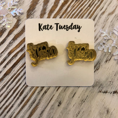 Happy New Year Gold Acrylic Stud Holiday Earrings