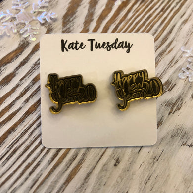 Happy New Year Gold + Black Acrylic Stud Holiday Earrings