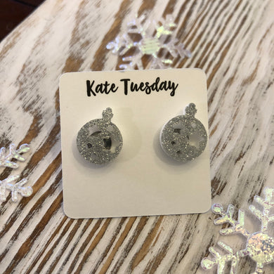 Sliver Glitter Ornament Holiday Acrylic Stud Earrings