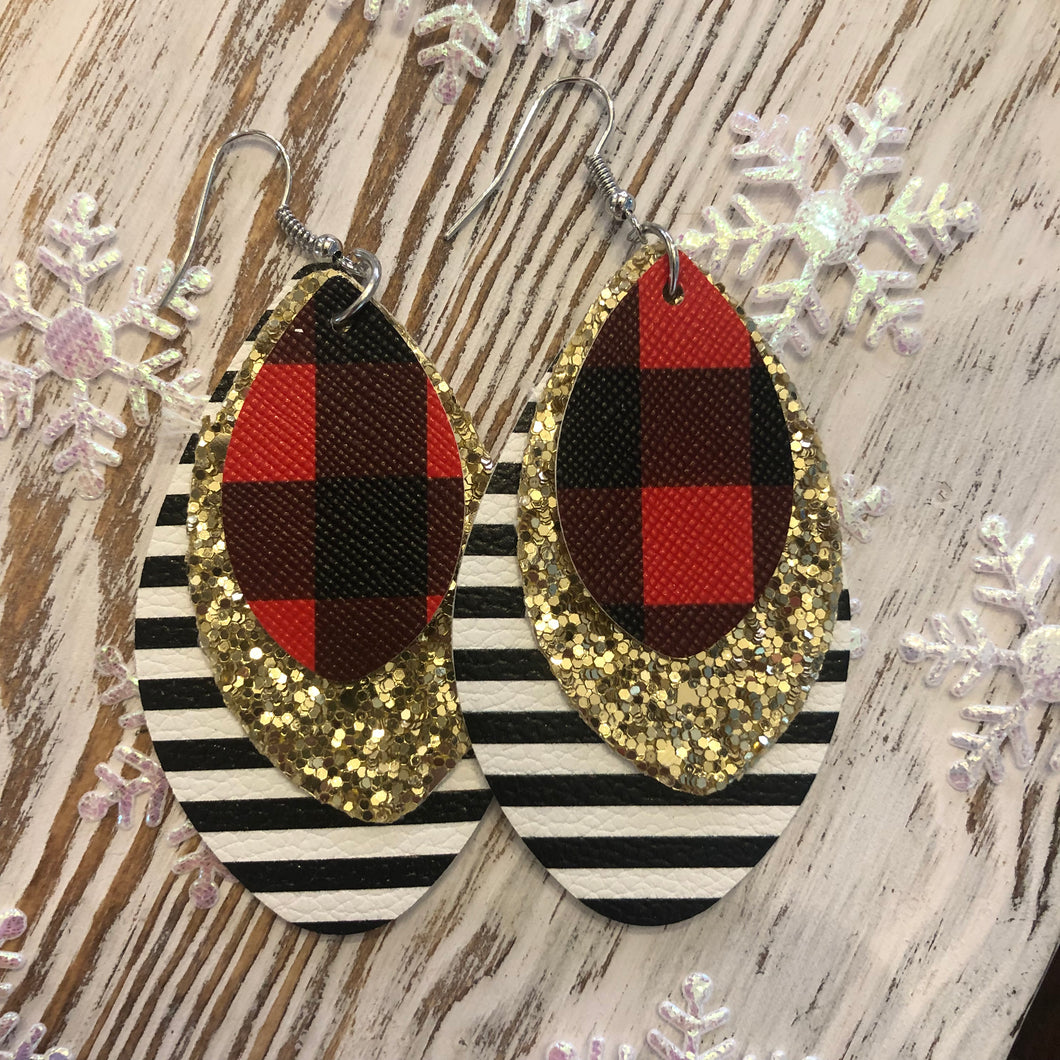 3 Layer Buffalo Plaid Glitter Stripe Holiday Leather Hang Earrings