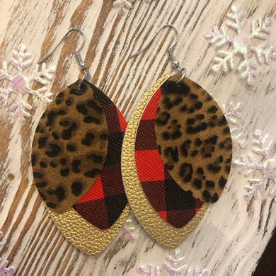 3 Layer Buffalo Plaid Cheetah Leopard Holiday Leather Hang Earrings
