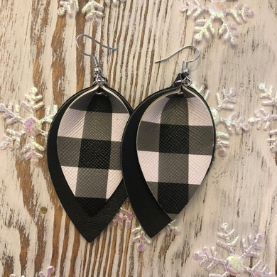 2 Layer Buffalo Plaid Black Holiday Leather Hang Earrings