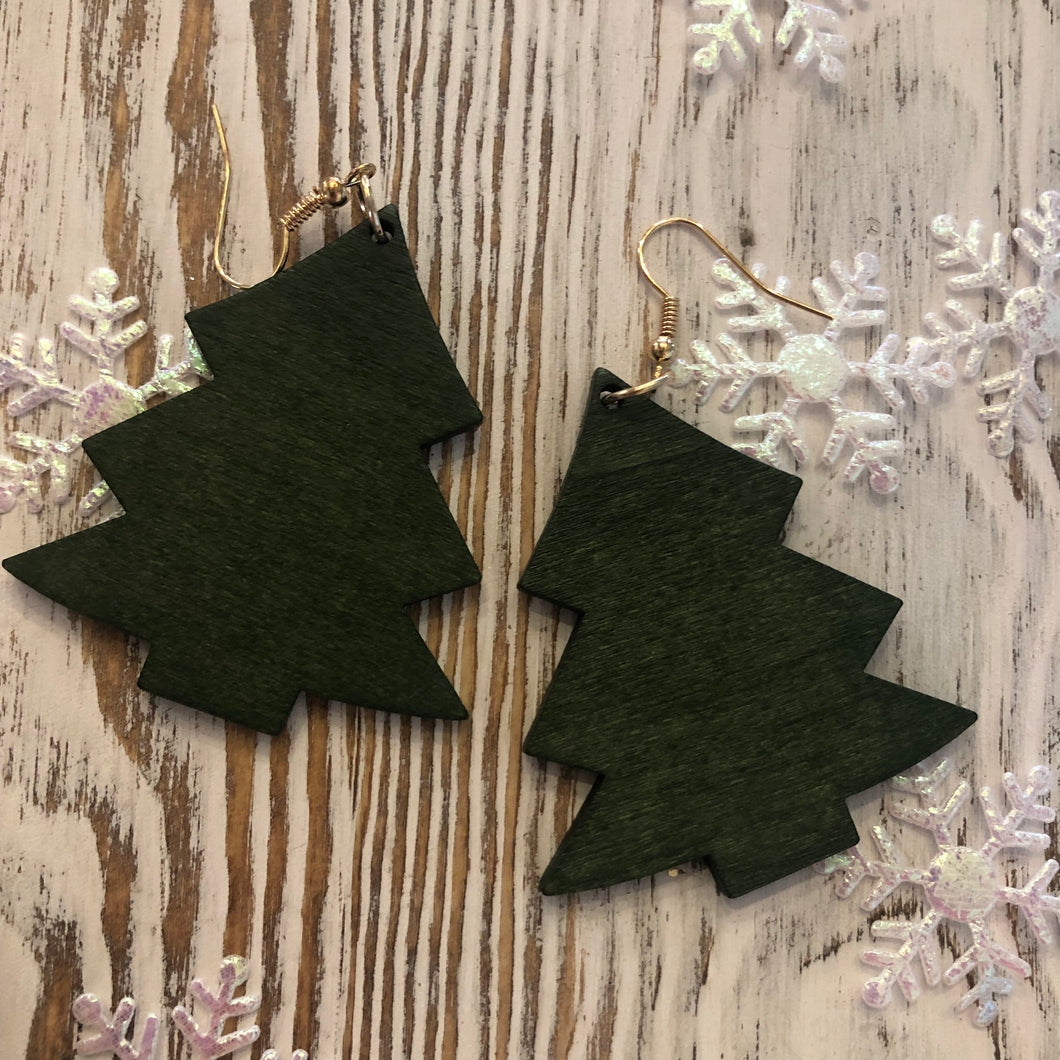 Green Wood Holiday Tree Earrings