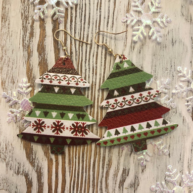 Holiday Leather Tree Earrings Multi