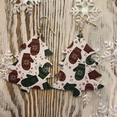 Holiday Leather Tree Earrings Mittens