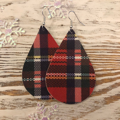 Red Plaid Holiday Faux Leather Earrings