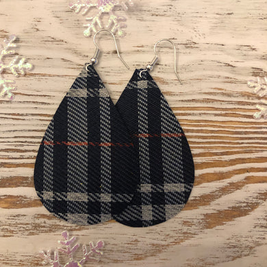 Dark Plaid Holiday Faux Leather Earrings