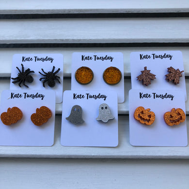 Orange + Black Halloween Themed Box of Earrings (6 Pairs) or Singles