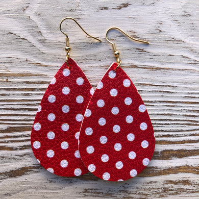 Red and White Polka Dot Leather Earrings