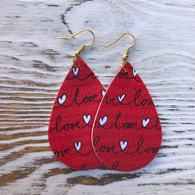 Red Love Scrawled Hearts Leather Earrings