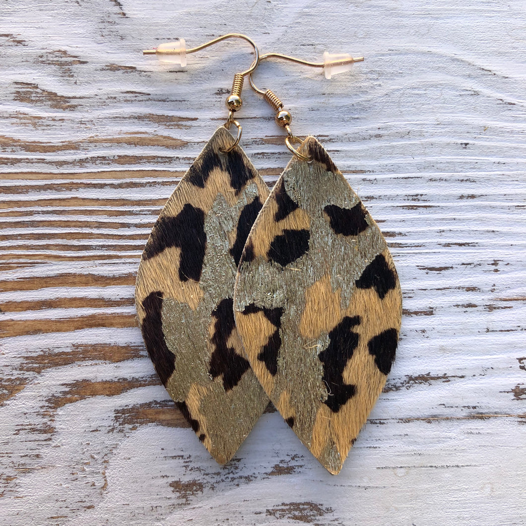 Metallic Hair on Hide Cheetah Leopard Leather Earrings