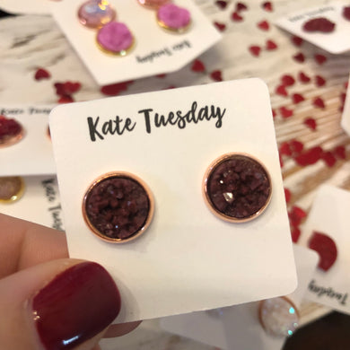 Maroon 10mm Druzy Earrings