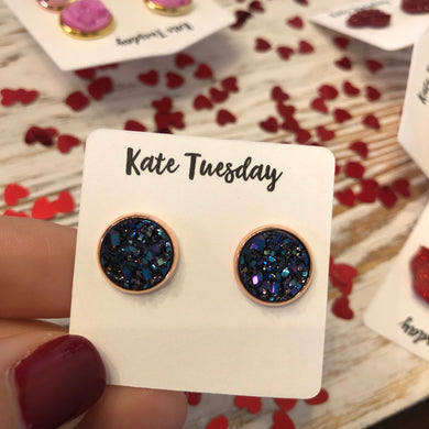 Dark Multi 10mm Druzy Earrings
