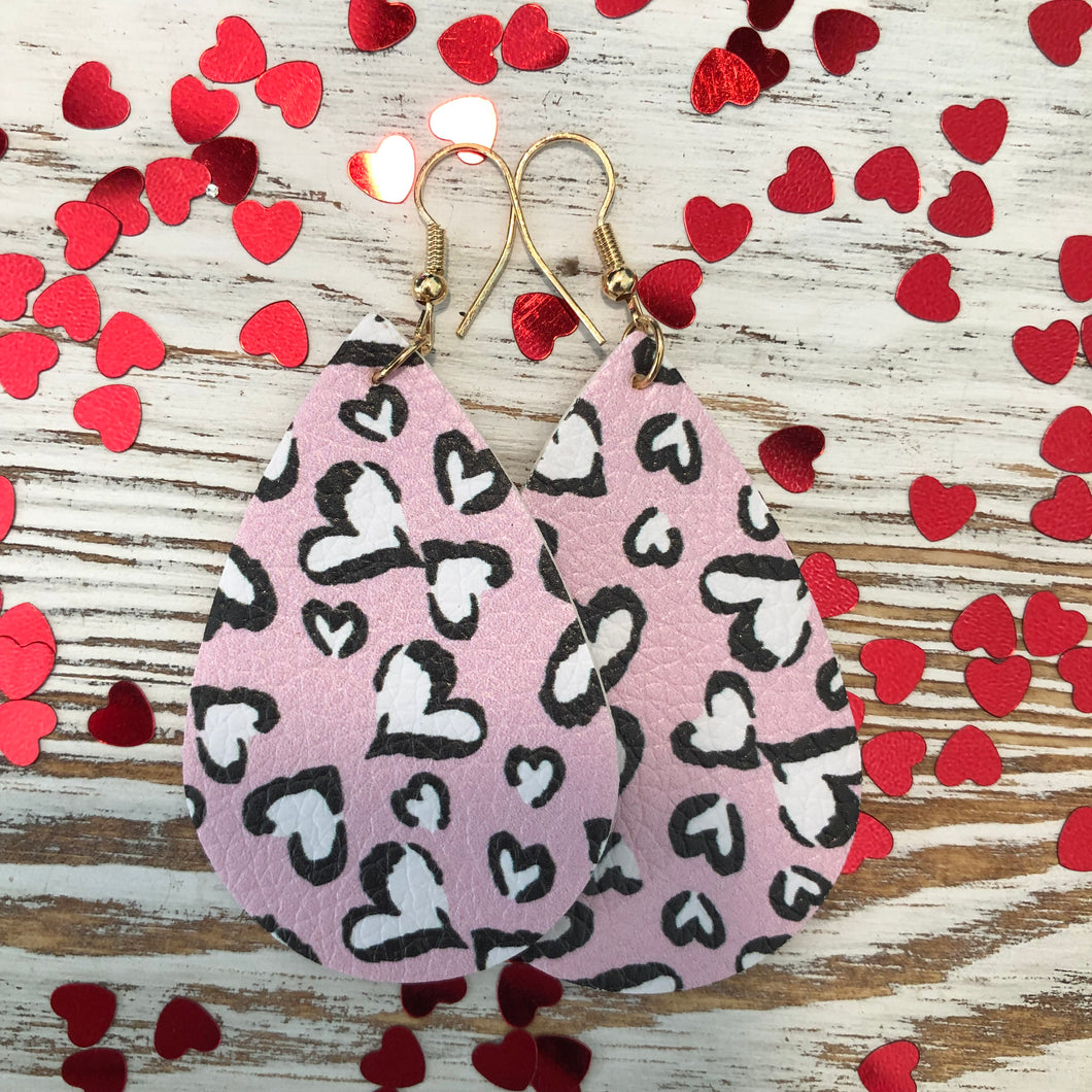 Light Pink Black and White Hearts Leather Earrings