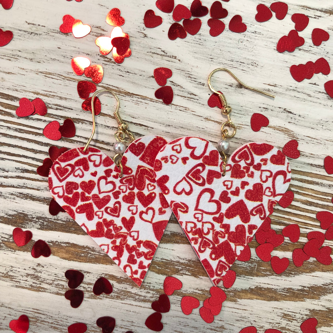 Red White Hearts Mini Heart Leather Pearl Earrings