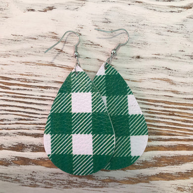 Green and White Plaid Leather Earrings