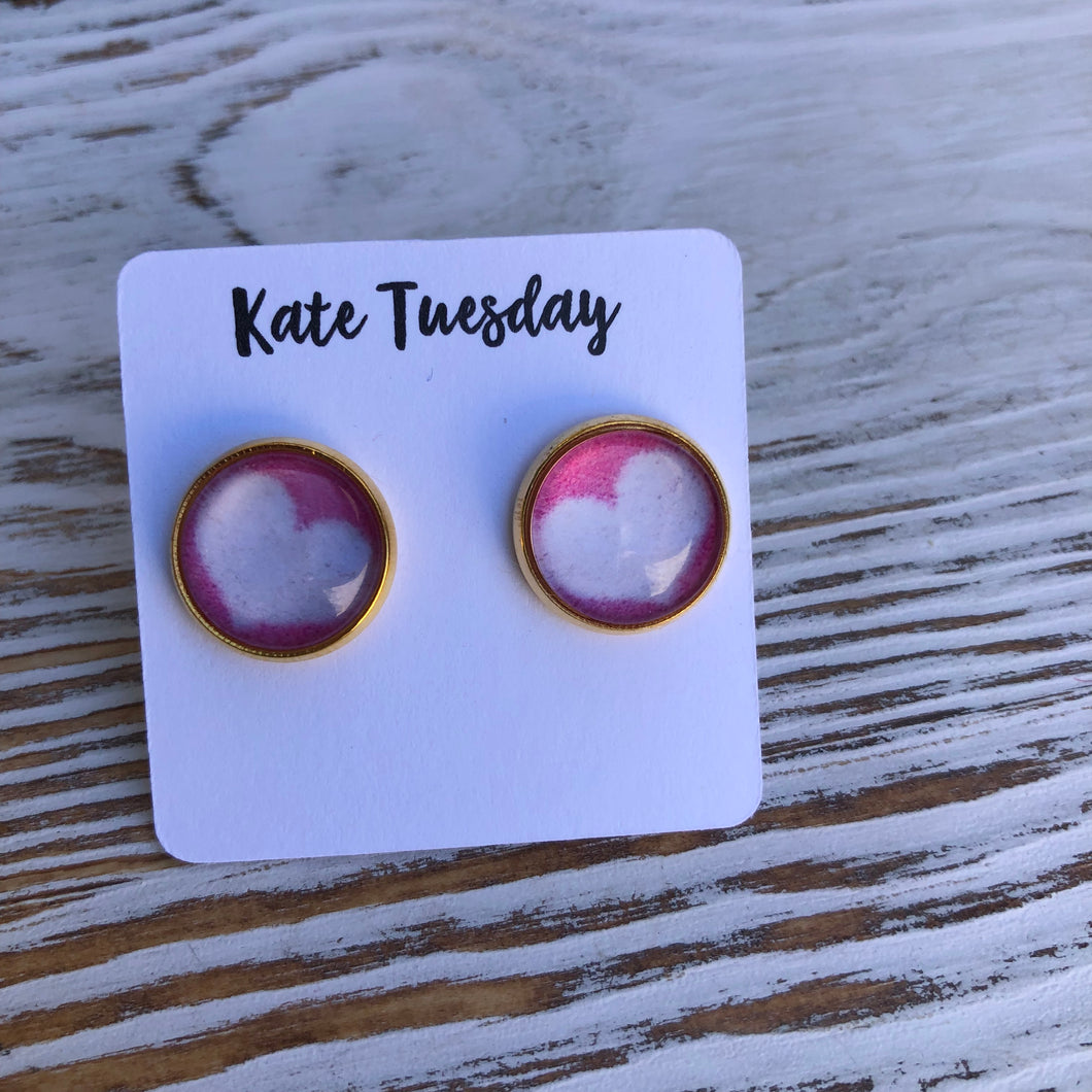 Pink White Abstract Heart 12mm Earrings