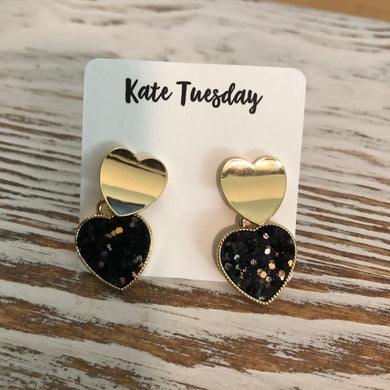 Gold Heart Black Glitter Heart Earrings