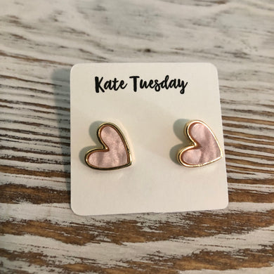 Pink Shiny Heart Stud Earrings