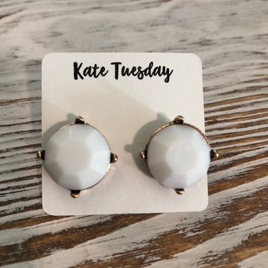 White Statement Stud Earrings