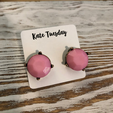 Light Pink Statement Stud Earrings