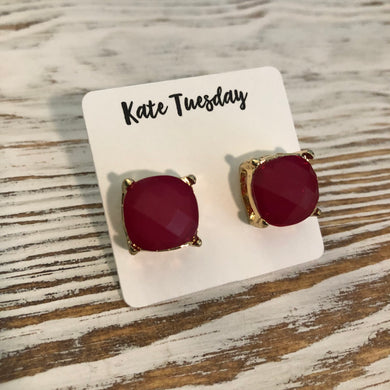 Deep Red Pink Statement Stud Earrings