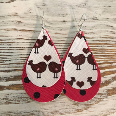 Birdy Heart Love Faux Leather Earrings