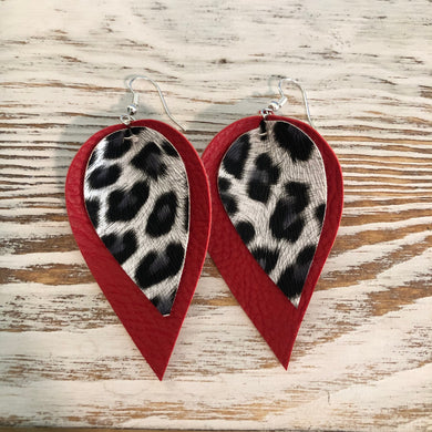 Two Layer Red Cheetah Animal Print Faux Leather Earrings