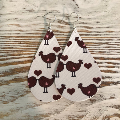 Birdy Heart Faux Leather Earrings