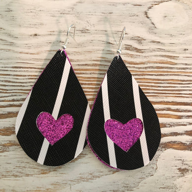 2 Layer Black White Stripe Magenta Glitter Heart Faux Leather Earrings