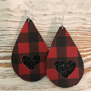 2 Layer Buffalo Plaid Black Glitter Heart Faux Leather Earrings