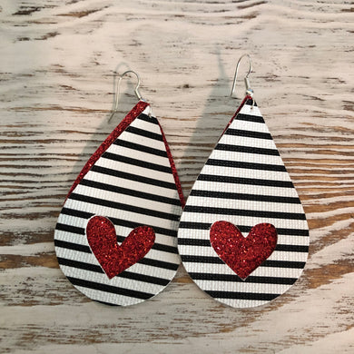 2 Layer Black White Stripe Red Glitter Heart Faux Leather Earrings