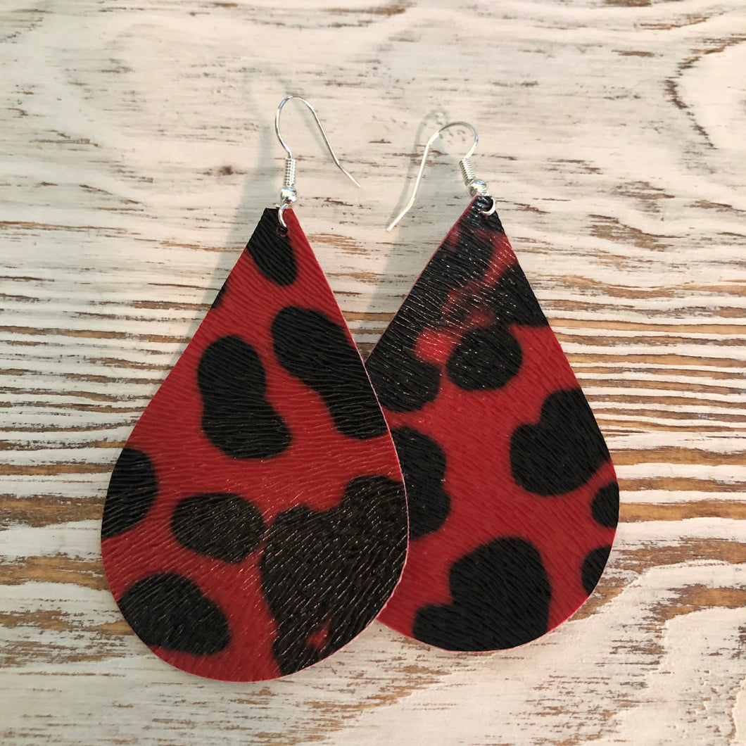 Red Black Cheetah Print Faux Leather Earrings