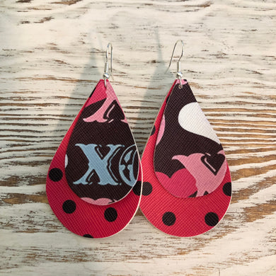 2 Layer XO Polka Dot Pink Faux Leather Earrings
