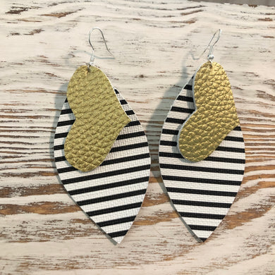 2 Layer Gold Heart Black White Stripe Faux Leather Earrings