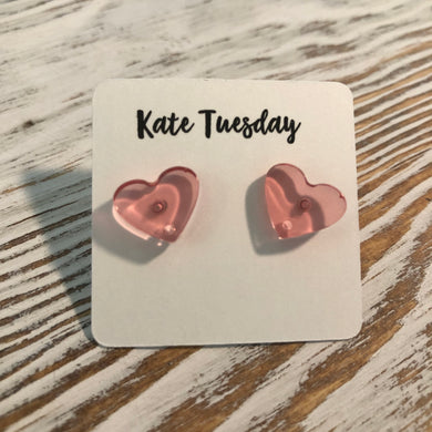 Pink Translucent Heart Stud Earrings