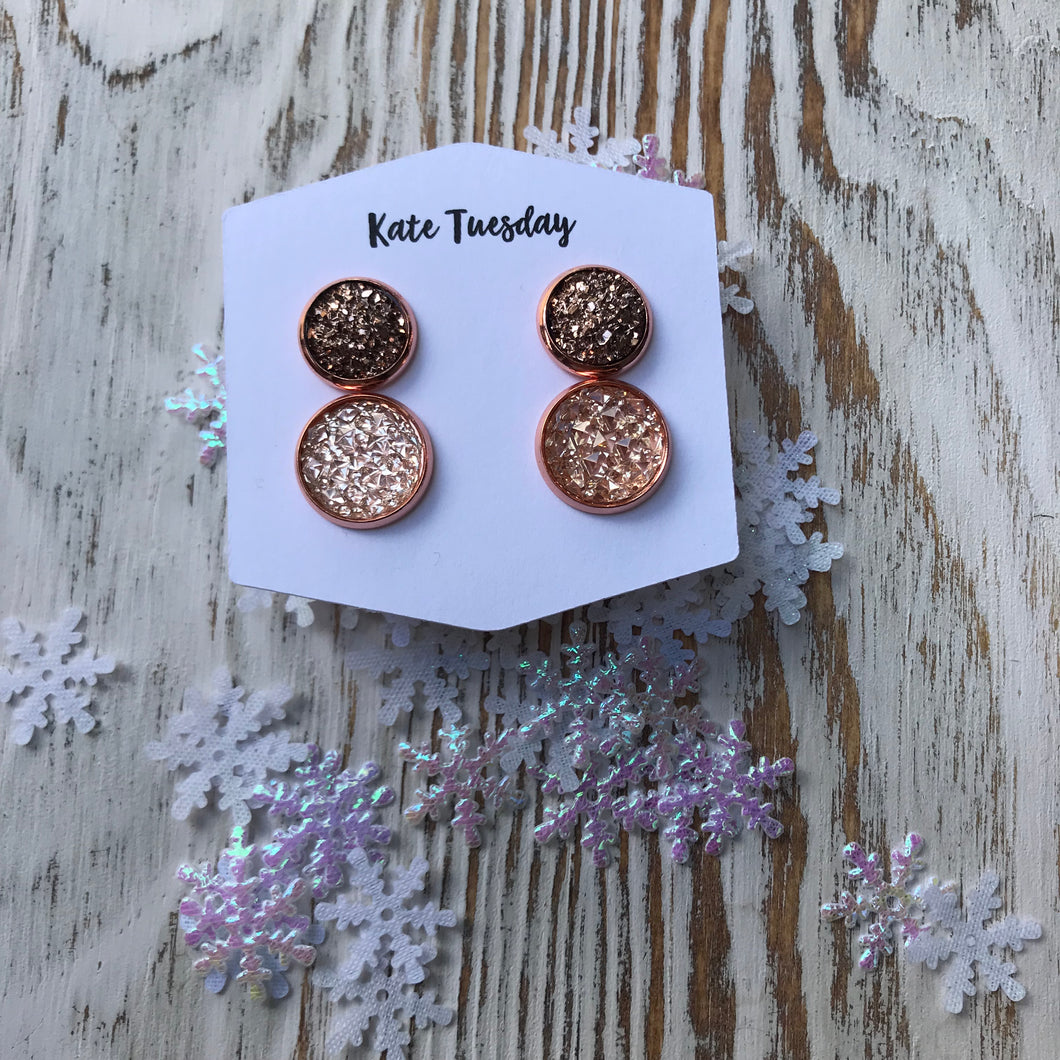Pretty Christmas Pinks Double Set of Druzy Earrings