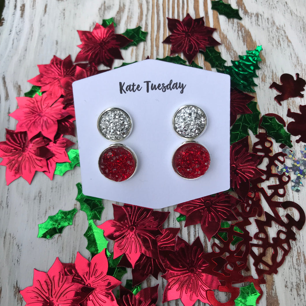 Silver + Red Stud Christmas Holiday Druzy Earrings Double Set