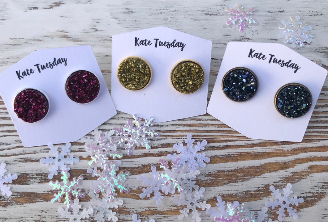 Sparkly Holiday Glitter Earrings Druzy