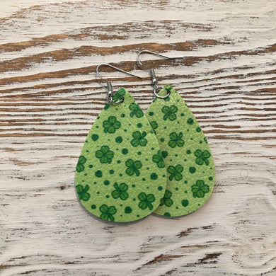 Lime Green Shamrock St Patricks Day Faux Leather Earrings