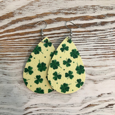 Light Green Shamrock St Patricks Day Faux Leather Earrings