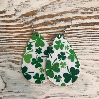 Shamrock St Patricks Day Faux Leather Earrings