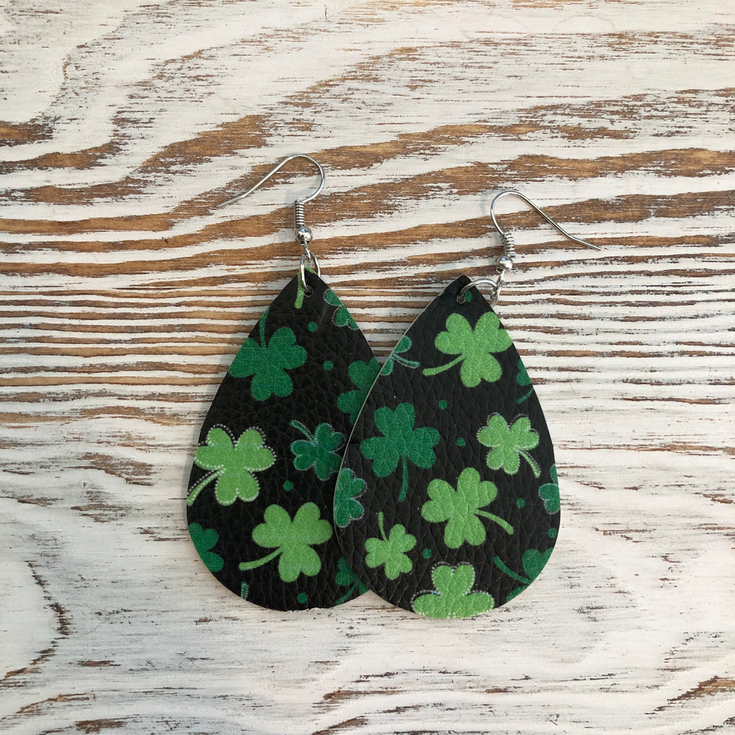 Black Shamrock St Patricks Day Faux Leather Earrings