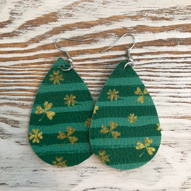 Striped Green St Patricks Day Faux Leather Earrings